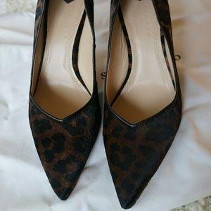 Sandro Leopard Print Calf Hair Heels